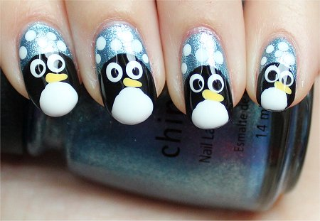 Natural Light Penguin Nails Cute Nail Art