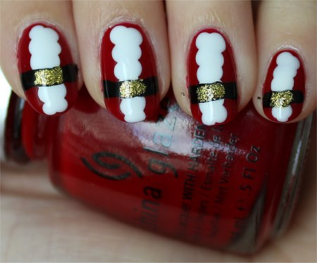 Natural Light Santa Claus Nails Nail Art Tutorial & Pics