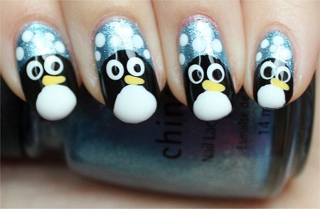 Natural Light Simple Penguin Nail Art