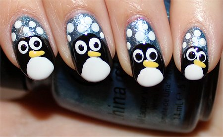 Penguin Nails Nail Art Tutorial Step 8