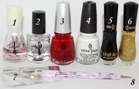 Santa Nails Nail Art Tutorial Supplies
