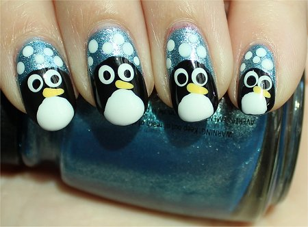 Sunlight Nail Art Penguin Nails Tutorial & Pictures