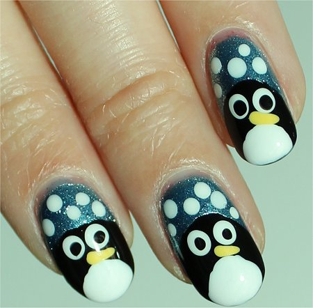 Sunlight Penguin Easy Nail Art Tutorial & Pictures