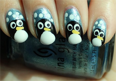 Sunlight Penguin Nail Art Tutorial & Swatches