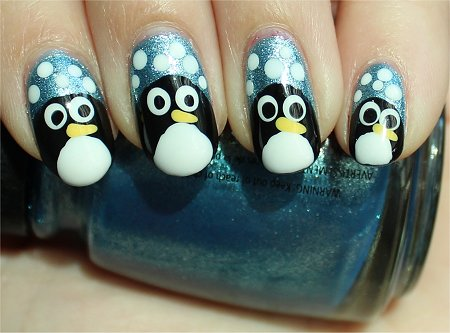 Sunlight Penguin Nails Nail-Art Tutorial & Swatch