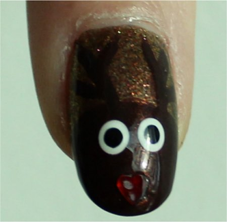 Sunlight Reindeer Nail Art Rudolph Nails Tutorial & Pictures