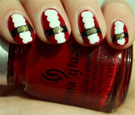 Sunlight Santa Claus Nails Nail Art Tutorial & Pics