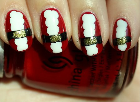 Sunlight Santa Nails Nail Art Tutorial & Pictures
