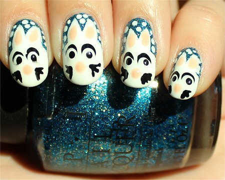 Sunlight Snowbunny Nails Nail-Art Tutorial & Pics