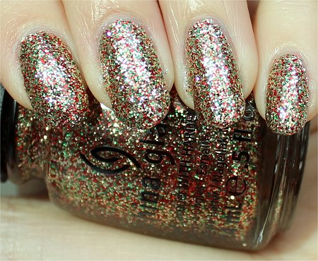 Sunlight Twinkle Lights China Glaze Swatches & Review Holiday 2011 Let It Snow Collection
