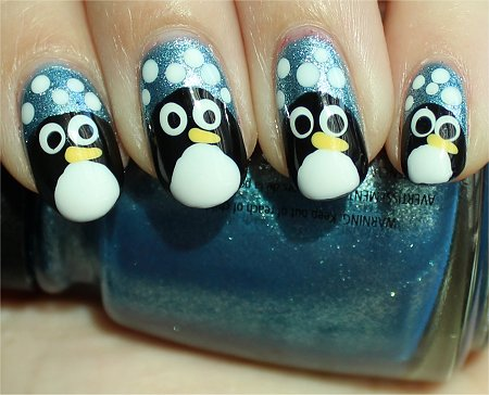 Sunlight Winter Penguin Nail Nail-Art Tutorial