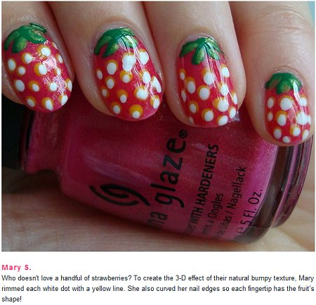 SwatchAndLearn.com on beautylish Strawberry Nails Nail Art