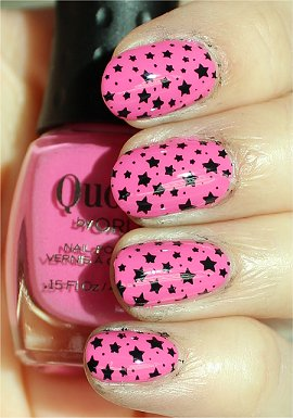 Black &amp; Pink Star Nail Stamping Konad Image Plate m84 Pictures &amp; Review smaller