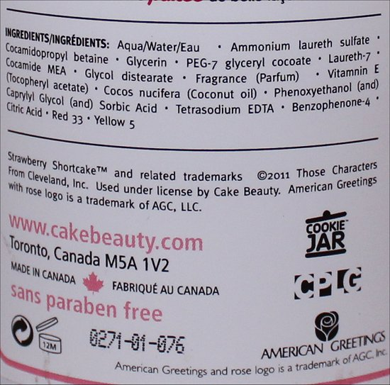 Cake Strawberry Shortcake Decadent Bath & Shower Suds Ingredients, Review & Pictures