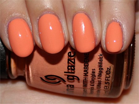 Flash China Glaze Up & Away Collection Swatches Review Peachy Keen Swatch