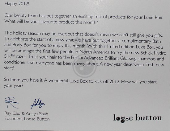 Loose Button January Luxe Box Pictures & Review