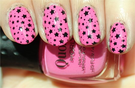 Sunlight Konad Image Plate m84 Review & Pictures Pink Black Nail Stamping Stars