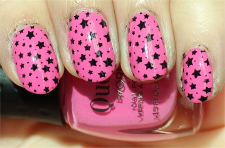 Sunlight Konad m84 Image Plate Pink &amp; Black Star Konadicure