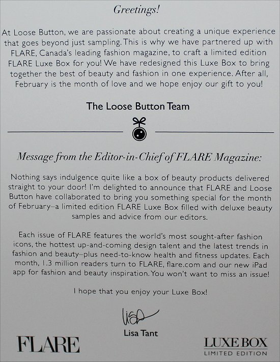 2012 February Loose Button Luxe Box Review & Pictures