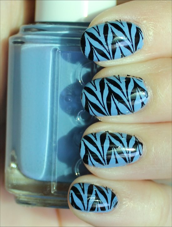 Black & Blue Konadicure Using Konad Image Plate m78 Pictures