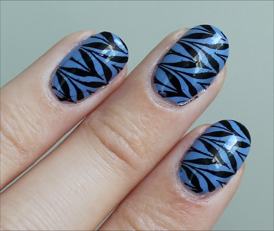 Blue Black Nail Art Nail Stamping Essie Lapis of Luxury Swatch & Review