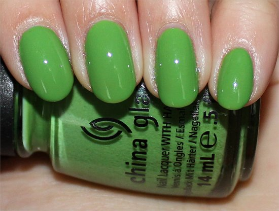 China Glaze ElectroPop Gaga For Green Swatch & Review