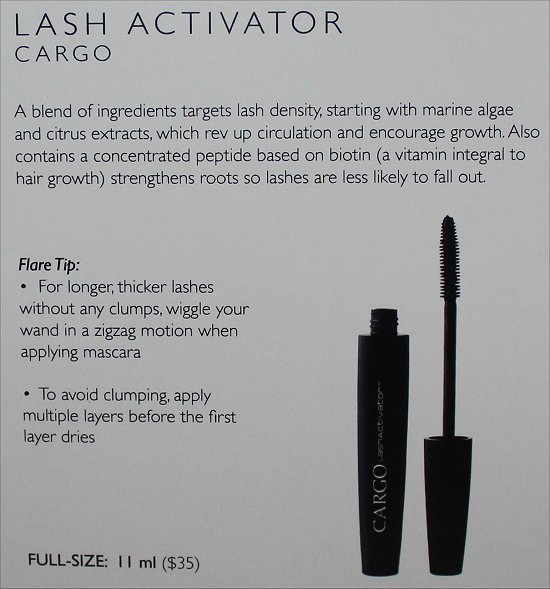 February 2012 Luxe Box Review & Pictures Cargo Lash Activator