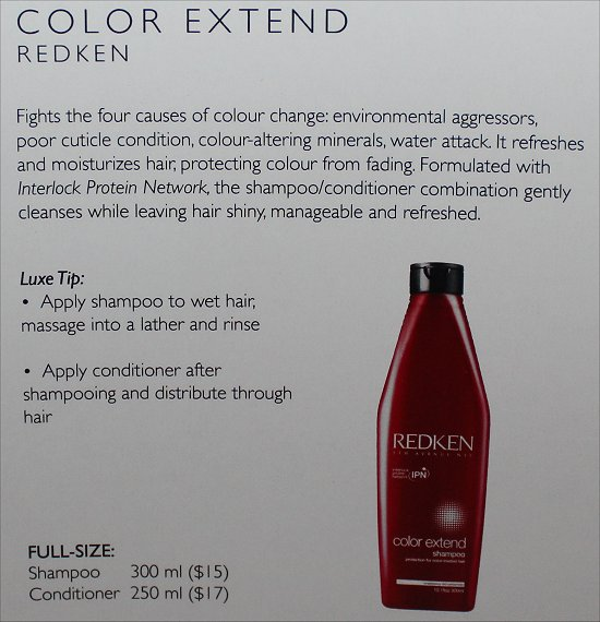 February 2012 Luxe Box Review & Pictures Redken Color Extend