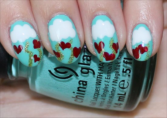 Simple Heart Nails Valentine's Nail Art Tutorial & Photos
