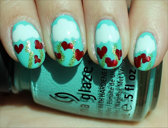 Valentine's Day Heart Nails Nail Art Tutorial & Pics
