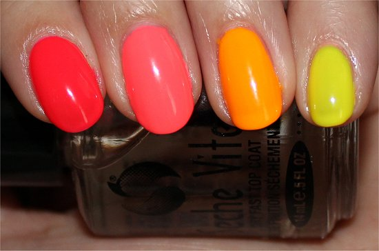 China Glaze Poolside Collection Neon Ombre Skittle Manicure