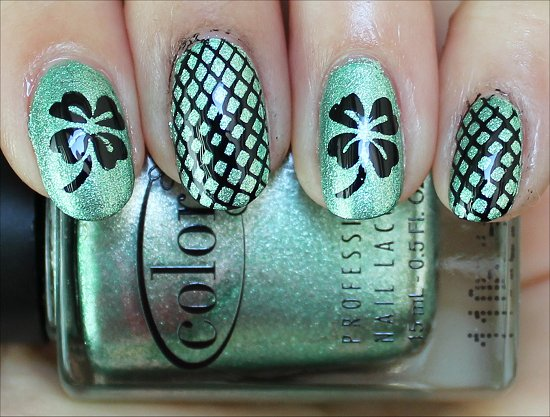 Green & Black Shamrock Nails Nail Art