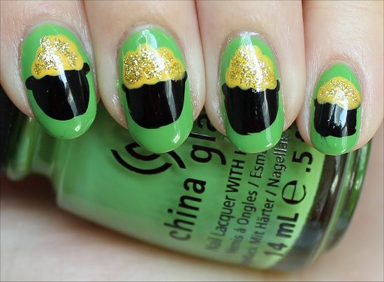 Leprechaun Pot of Gold Nails Nail Art Tutorial China Glaze Gaga For Green Swatches