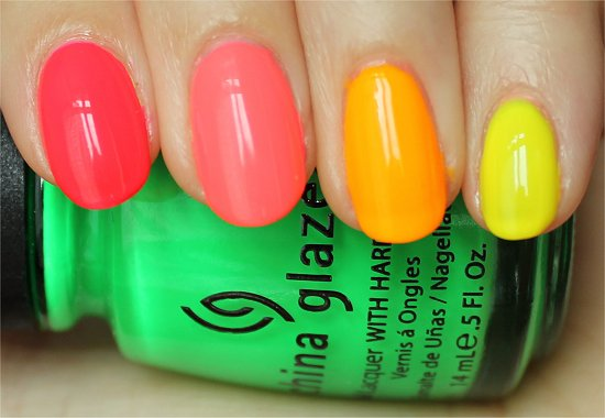 Neon Ombre Manicure Swatches & Review China Glaze Neon Nail Polish