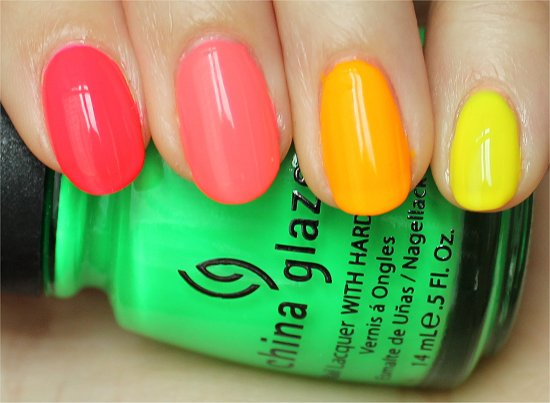 Neon Ombre Nail Art Swatches & Review