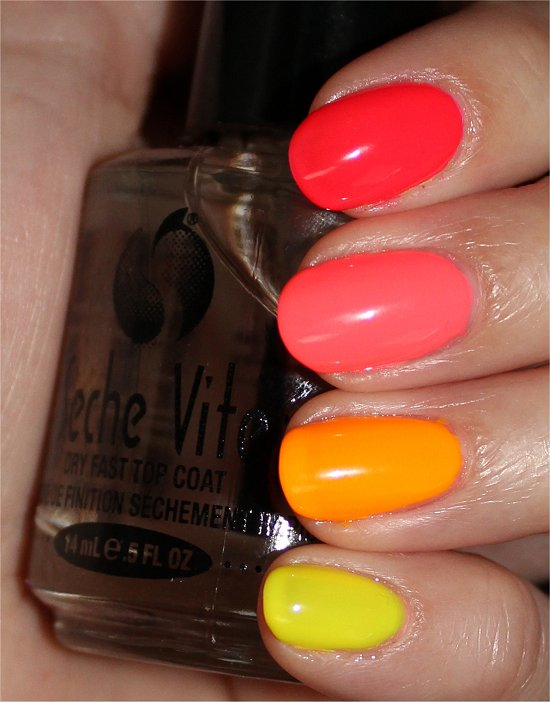 Neon Ombre Skittle Manicure Swatches & Review