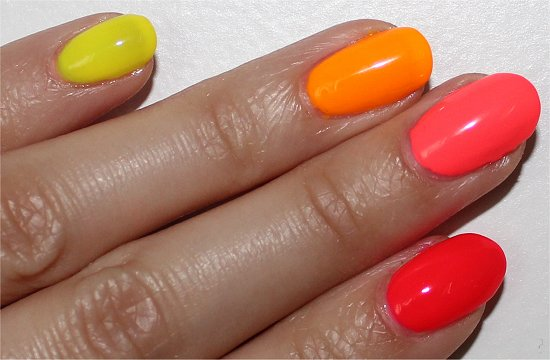 Neon Skittle Manicure China Glaze Pool Party, Flip Flop Fantasy, Sun Worshipper & Yellow Polka Dot Bikini