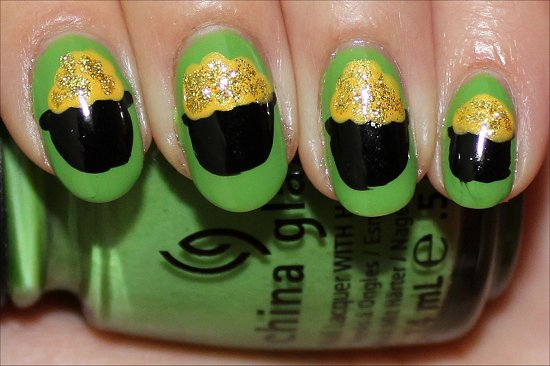 Pot of Gold Nail Art Tutorial & Photos St. Paddys Day Nails