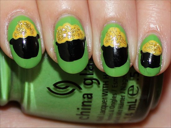Pot of Gold Nail Art Tutorial & Pictures St. Patricks Day Manicure
