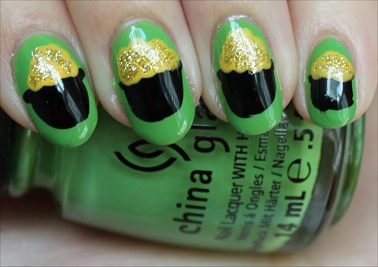 Pot of Gold Nail-Art Tutorial St. Patrick's Day Manicure & Swatches