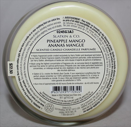 Slatkin & Co. Pineapple Mango Scented Candle Review & Photos