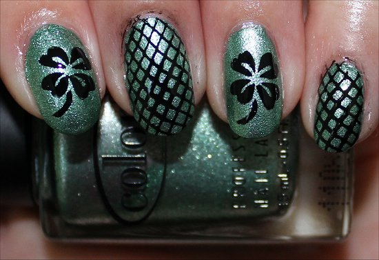 St. Patrick's Day Manicure 4 Leaf Clover Nails Nail Art