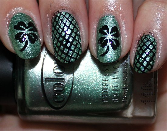 St. Patrick's Day Manicure Four Leaf Clover Nails Nail Art