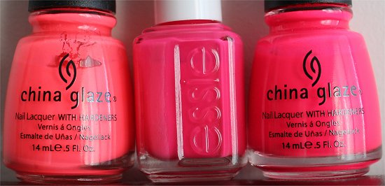 China Glaze Flip Flop Fantasy Essie Short Shorts China Glaze Pool Party Comparison Swatches