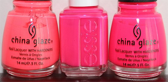 Essie Short Shorts China Glaze Flip Flop Fantasy Pool Party Comparison Swatches