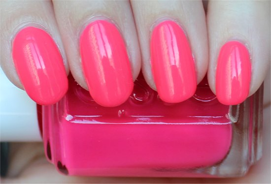 Essie Short Shorts Neon Pink Polish Swatches & Review