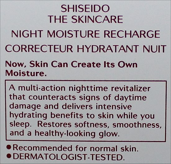 Shiseido The Skincare Night Moisture Recharge Pictures & Review