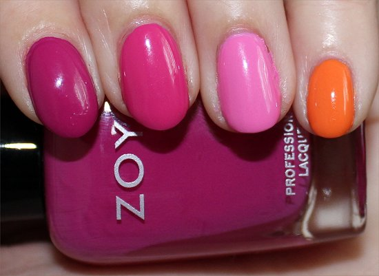 Skittle Manicure Using Zoya Surf & Beach Summer Collection 2012 Swatches
