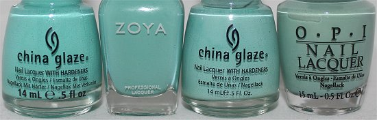 Zoya Wednesday Comparison Swatches China Glaze For Audrey Aquadelice OPI Mermaids Tears