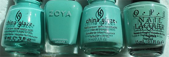 Zoya Wednesday vs. China Glaze For Audrey Aquadelic OPI Mermaids Tears